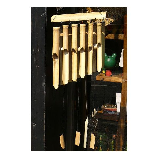 バンブーの風鈴12連 ナチュラル[竹ベル長さ40cm]アジアン雑貨 バリ雑貨 タイ エスニック アジアンインテリア|angkasa|05