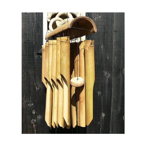 バンブーの風鈴12連 ナチュラル[竹ベル長さ40cm]アジアン雑貨 バリ雑貨 タイ エスニック アジアンインテリア|angkasa|06