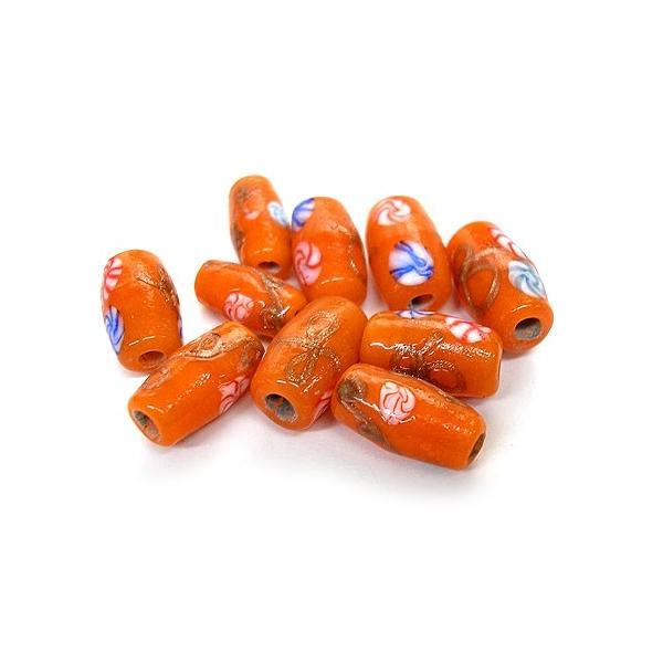 アジアン雑貨 アクセサリーパーツ ガラスのビーズ 10個入り 樽型 オレンジ 青赤花柄|angkasa|02