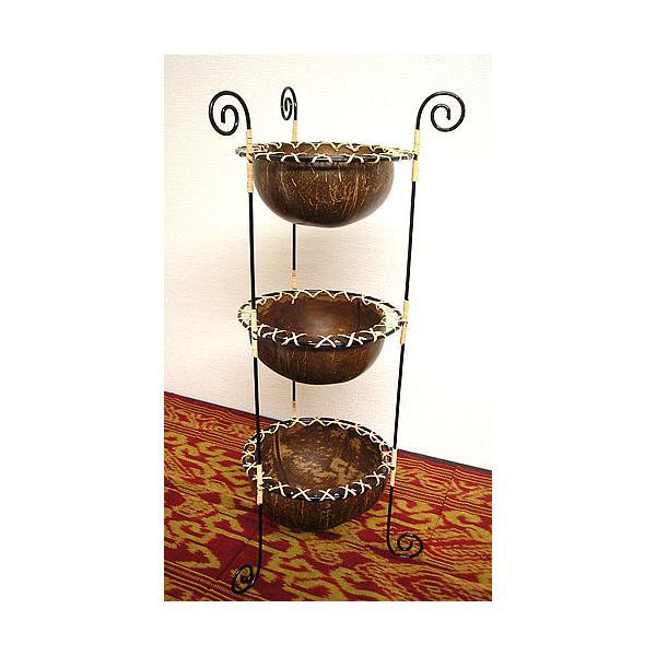 ココナッツの小物入れ 猫足 3段  プランター 植木鉢 アジアン雑貨 バリ雑貨 エスニック おしゃれな小物入れ|angkasa