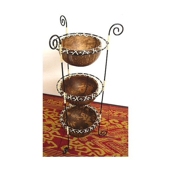 ココナッツの小物入れ 猫足 3段  プランター 植木鉢 アジアン雑貨 バリ雑貨 エスニック おしゃれな小物入れ|angkasa|02