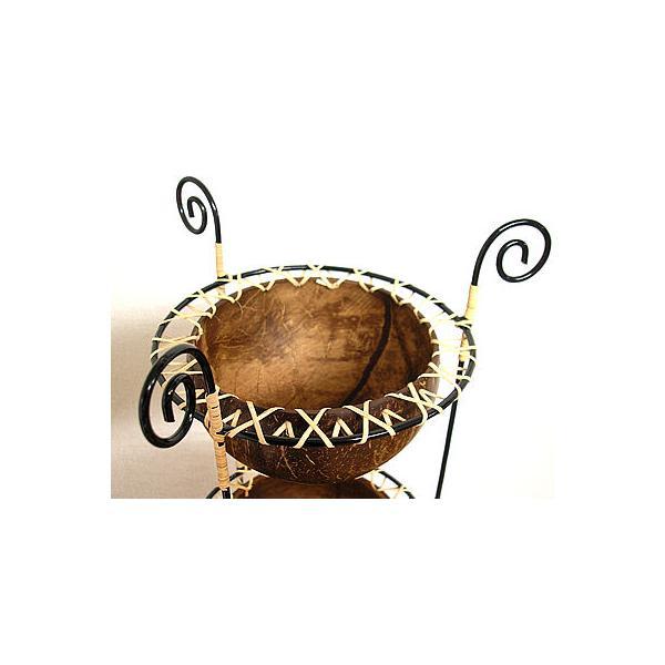 ココナッツの小物入れ 猫足 3段  プランター 植木鉢 アジアン雑貨 バリ雑貨 エスニック おしゃれな小物入れ|angkasa|03