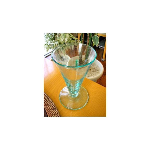 ガラスのコップ タンブラー 足つき 15cm クリアー アジアン雑貨 バリ雑貨 エスニック おしゃれな ガラス グラス|angkasa|02