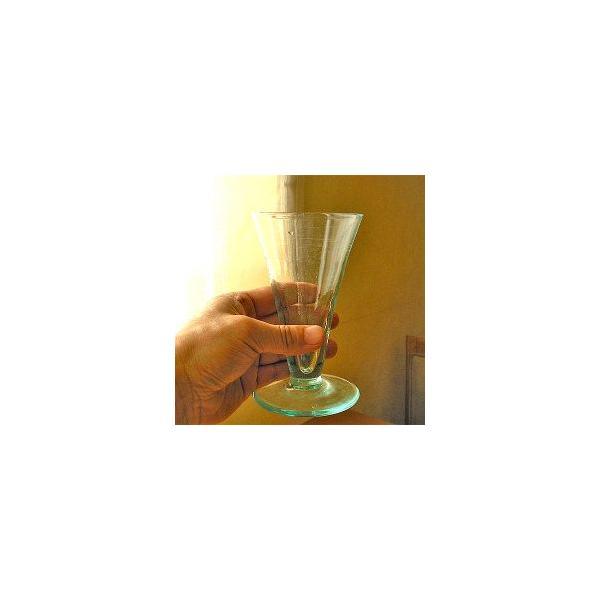 ガラスのコップ タンブラー 足つき 15cm クリアー アジアン雑貨 バリ雑貨 エスニック おしゃれな ガラス グラス|angkasa|03