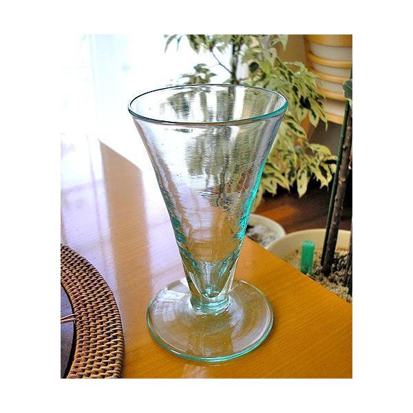 ガラスのコップ タンブラー 足つき 15cm クリアー アジアン雑貨 バリ雑貨 エスニック おしゃれな ガラス グラス|angkasa|04