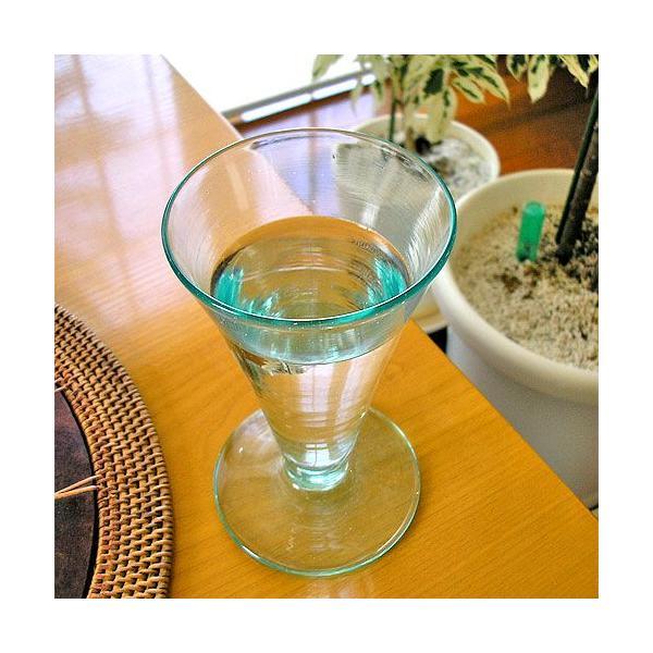 ガラスのコップ タンブラー 足つき 15cm クリアー アジアン雑貨 バリ雑貨 エスニック おしゃれな ガラス グラス|angkasa|05