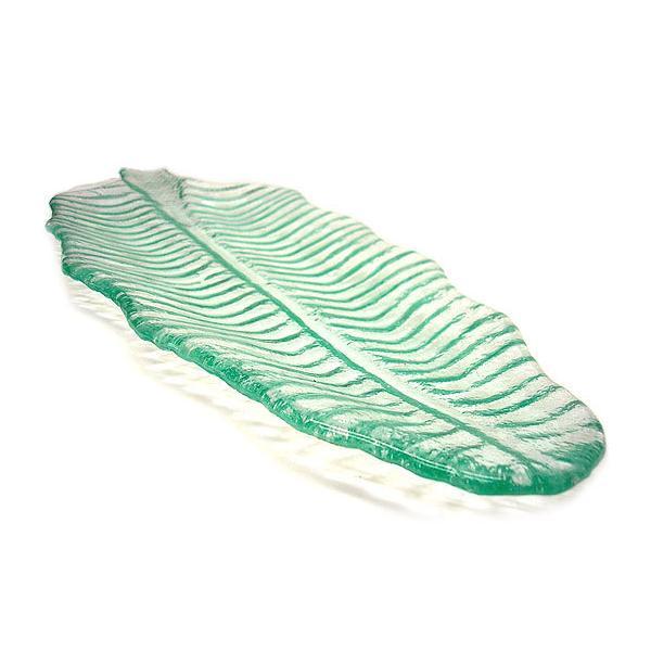 バナナリーフのガラス大皿 42cm アジアン雑貨 バリ雑貨 エスニック おしゃれな ガラス大皿|angkasa|02