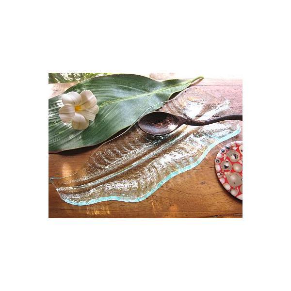 バナナリーフのガラス皿 A 32cm アジアン雑貨 バリ雑貨 エスニック おしゃれな ガラス大皿 angkasa 02