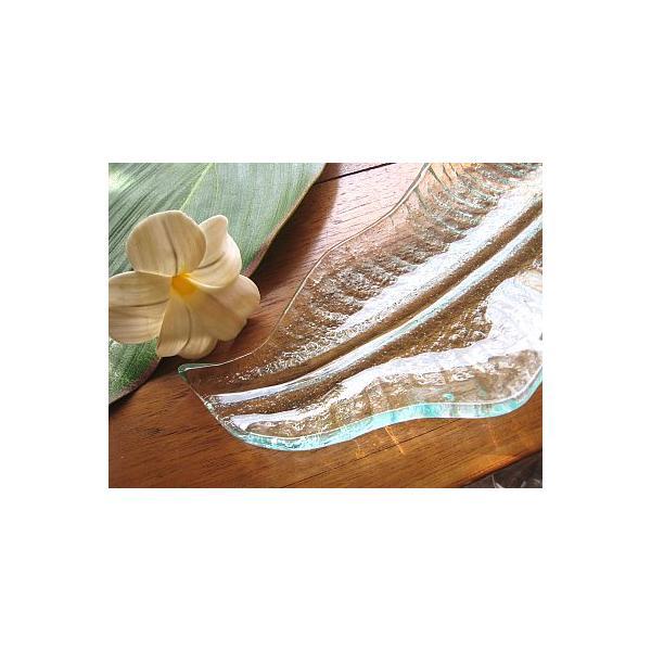 バナナリーフのガラス皿 A 32cm アジアン雑貨 バリ雑貨 エスニック おしゃれな ガラス大皿 angkasa 03