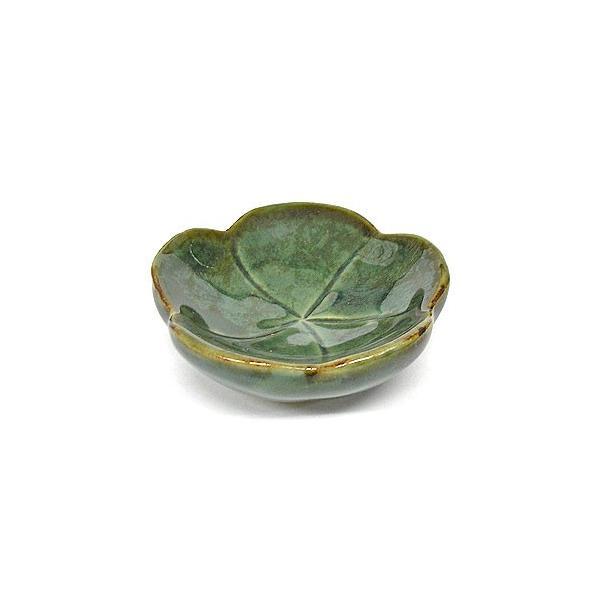 陶器の小皿 花型 グリーン 調味料皿 [直径約7.5cm]アジアン雑貨 バリ雑貨 angkasa