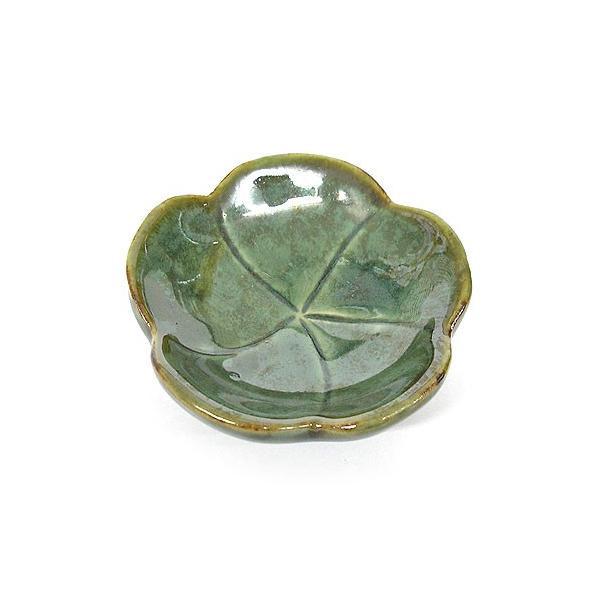 陶器の小皿 花型 グリーン 調味料皿 [直径約7.5cm]アジアン雑貨 バリ雑貨 angkasa 02