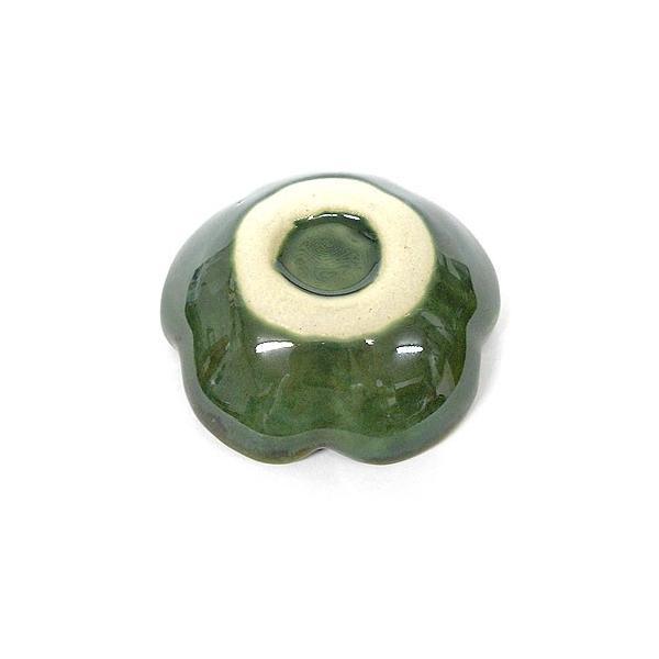 陶器の小皿 花型 グリーン 調味料皿 [直径約7.5cm]アジアン雑貨 バリ雑貨 angkasa 03