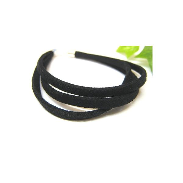 アジアン雑貨 ブレスレット 平ひも ブラック スエード風三重 18.5cm メール便対応 angkasa 02