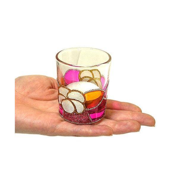 キャンドル ホルダー カップ グラス 白プルメリア ピンク系 [器直径5cmxH6cm] アジアン雑貨 バリ雑貨 タイ おしゃれな キャンドルグラス クリスマス angkasa 04
