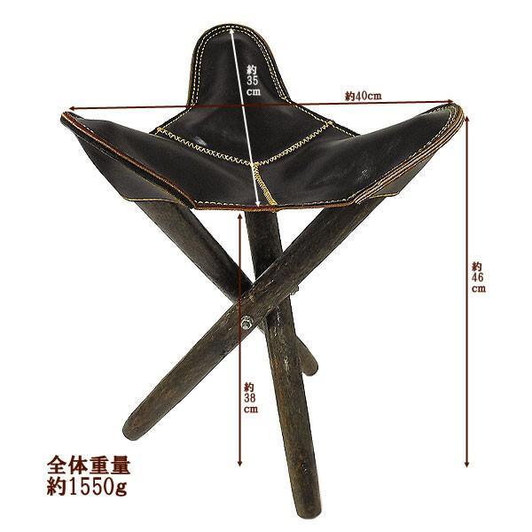アジアン雑貨 タイ雑貨 ハンドメイド レザーの三角イス ブラック 折り畳み式 革 アンティーク調 スツール チェアー 椅子|angkasa|03