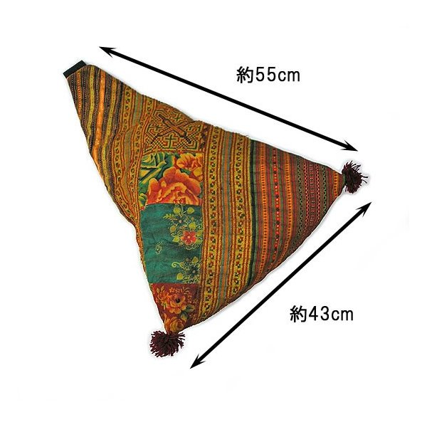 布製 モン族 手作りパッチワーク 三角ショルダーバッグ オレンジ系 アジアン雑貨 タイ エスニック おしゃれな布のバッグ