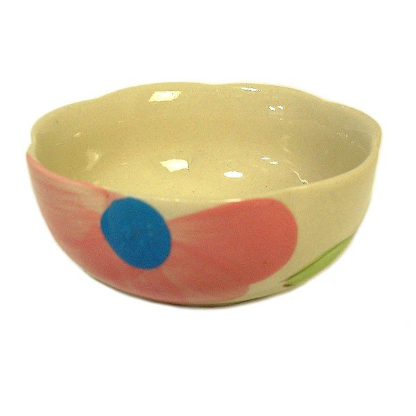 花柄 縁波 小皿 ピンクの花 お通し 小鉢 調味料皿 [直径9cmx3.5cm] おしゃれな アジアン食器 アジアン雑貨 バリ雑貨 ローカルな食器 おしゃれな小皿|angkasa|02