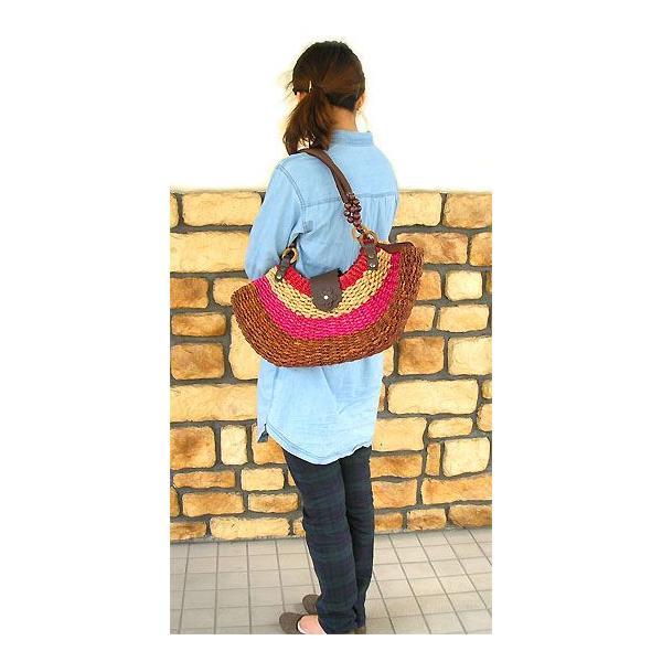 シーグラスのカゴバッグ Shipタイプ ショルダーバッグ アジアン雑貨 バリ雑貨 タイ雑貨 エスニック