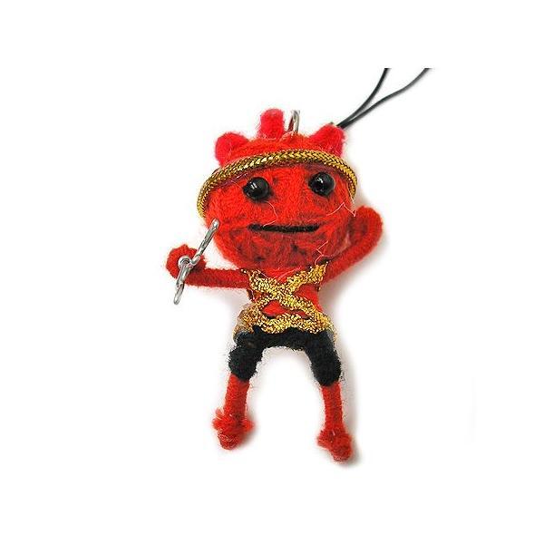アジアン雑貨 タイ雑貨 ブードゥー人形ストラップ ヒーロー Mサイズ 赤 [H.6cm] メール便対応|angkasa