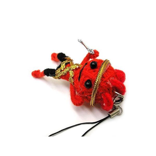 アジアン雑貨 タイ雑貨 ブードゥー人形ストラップ ヒーロー Mサイズ 赤 [H.6cm] メール便対応|angkasa|02