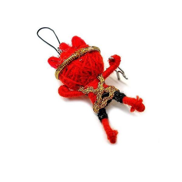 アジアン雑貨 タイ雑貨 ブードゥー人形ストラップ ヒーロー Mサイズ 赤 [H.6cm] メール便対応|angkasa|03