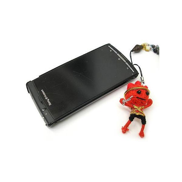 アジアン雑貨 タイ雑貨 ブードゥー人形ストラップ ヒーロー Mサイズ 赤 [H.6cm] メール便対応|angkasa|04