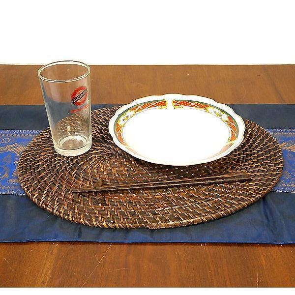 ラタンのランチョンマット ダークブラウン アジアン雑貨 バリ雑貨 タイ エスニック おしゃれなテーブルマット|angkasa