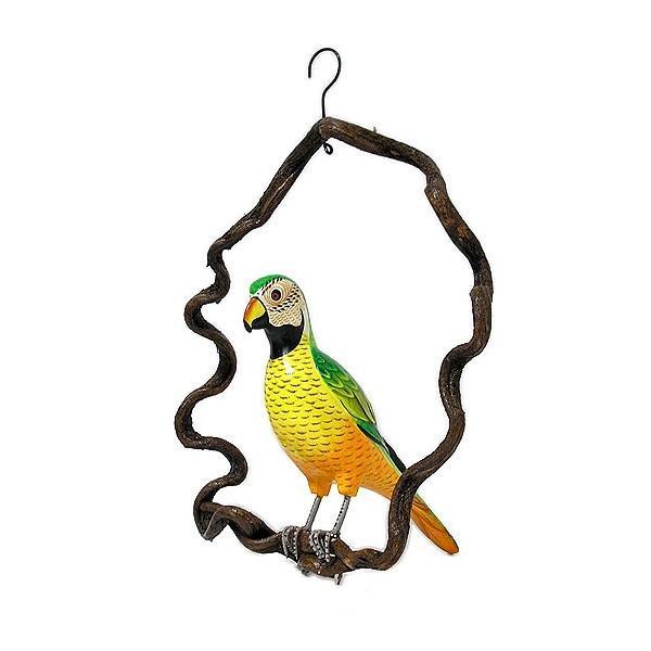 南国のカラフルバード吊り下げ 木の枠 イエロー グリーン[30cm] アジアン雑貨 バリ雑貨 おしゃれな 小鳥の アジアン インテリア|angkasa