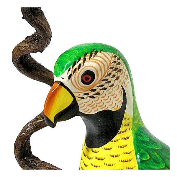 南国のカラフルバード吊り下げ 木の枠 イエロー グリーン[30cm] アジアン雑貨 バリ雑貨 おしゃれな 小鳥の アジアン インテリア|angkasa|05