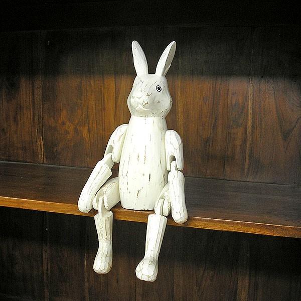 アンティーク調 手足が動かせる木彫りのうさぎ 白 インテリア人形 アジアン雑貨 バリ タイ エスニック アニマル 置物 |angkasa