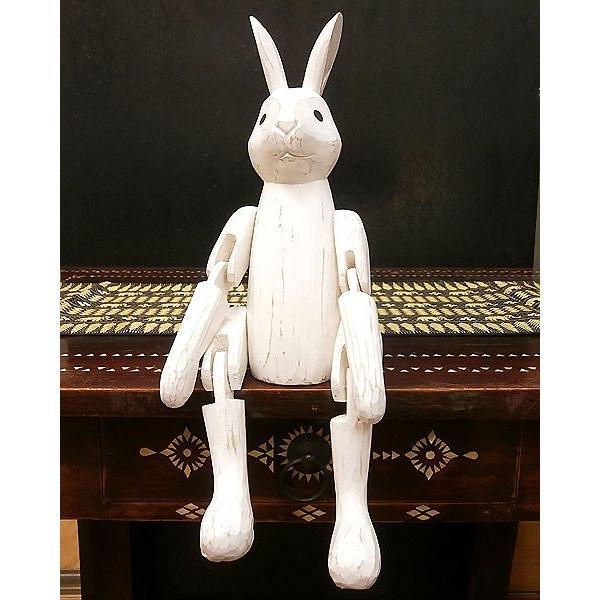 アンティーク調 手足が動かせる木彫りのうさぎ 白 インテリア人形 アジアン雑貨 バリ タイ エスニック アニマル 置物 |angkasa|02