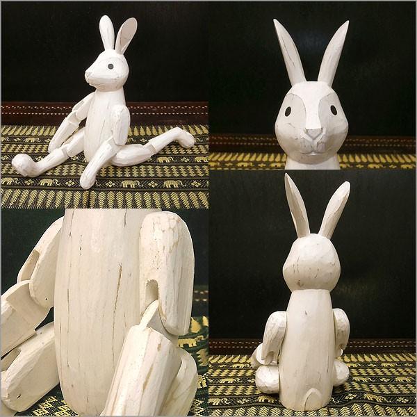 アンティーク調 手足が動かせる木彫りのうさぎ 白 インテリア人形 アジアン雑貨 バリ タイ エスニック アニマル 置物 |angkasa|06