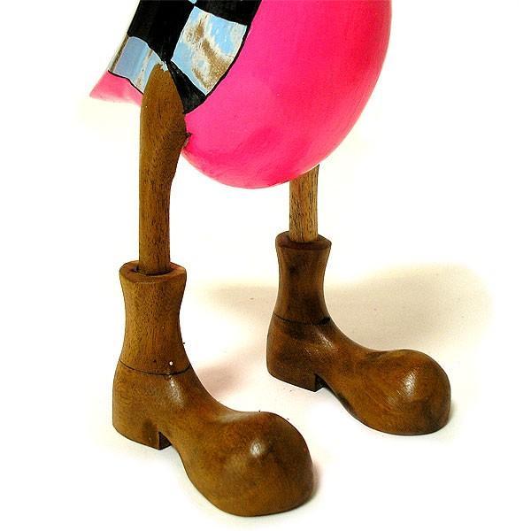 木彫りのアヒル 水色 帽子 アンティーク仕上げ [H.約36cm] ナチュラル エスニック おしゃれな 置物 玄関 階段 インテリア人形 アジアン雑貨|angkasa|07