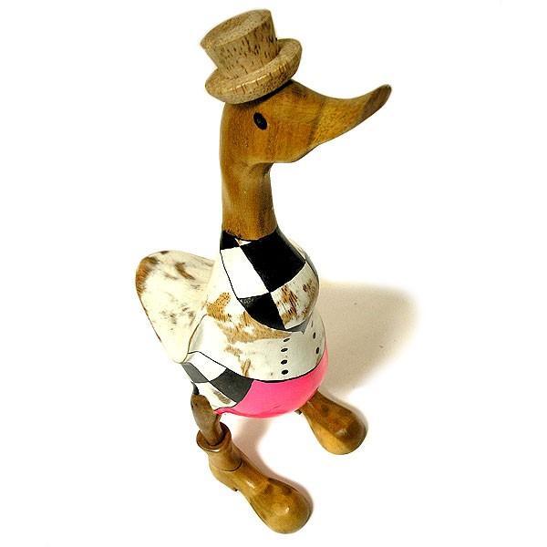 木彫りのアヒル 白 帽子 アンティーク仕上げ [H.約36cm] ナチュラル エスニック おしゃれな 置物 玄関 階段 インテリア人形 アジアン雑貨|angkasa|05