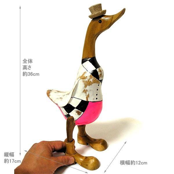 木彫りのアヒル 白 帽子 アンティーク仕上げ [H.約36cm] ナチュラル エスニック おしゃれな 置物 玄関 階段 インテリア人形 アジアン雑貨|angkasa|06