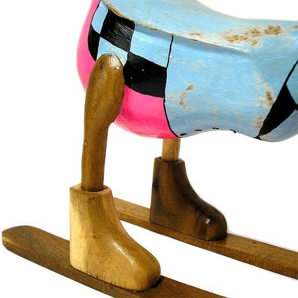 木彫りのアヒル スキー 青 アンティーク仕上げ [全長約34cm] ナチュラル エスニック おしゃれな 置物 玄関 階段 インテリア人形 アジアン雑貨|angkasa|05