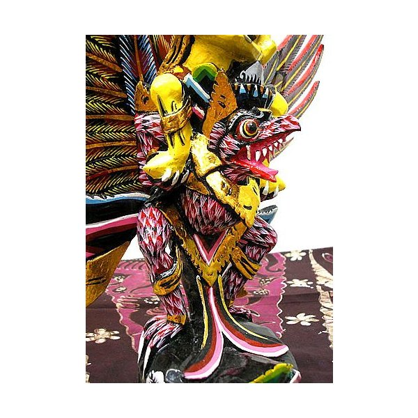 霊鳥ガルーダとWISNU神 [H.45cm] 黒赤白鱗 アジアン雑貨 バリ雑貨 木製 フィギュア インテリア雑貨 置物|angkasa|06