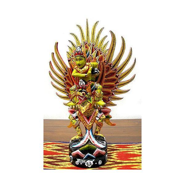 霊鳥ガルーダとWISNU神 [H.40cm] 黒黄緑 アジアン雑貨 バリ雑貨 木製 フィギュア インテリア雑貨 小物 angkasa
