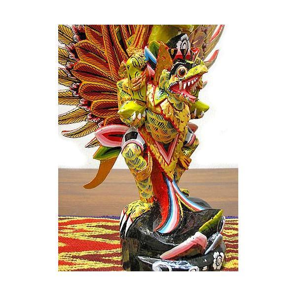 霊鳥ガルーダとWISNU神 [H.40cm] 黒黄緑 アジアン雑貨 バリ雑貨 木製 フィギュア インテリア雑貨 小物 angkasa 04
