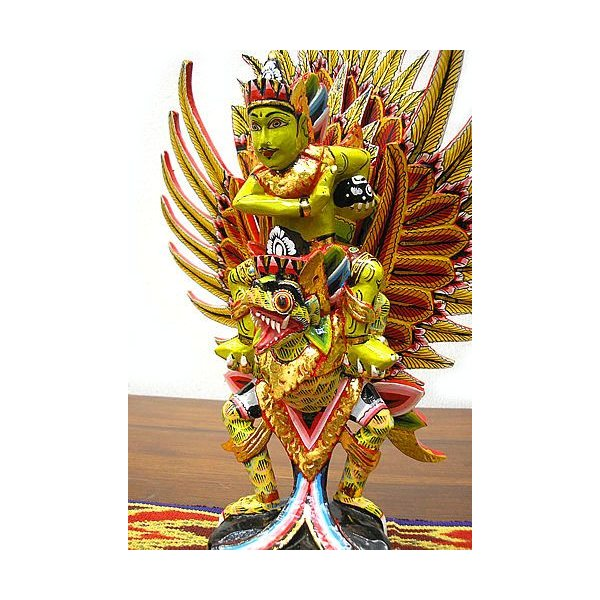 霊鳥ガルーダとWISNU神 [H.40cm] 黒黄緑 アジアン雑貨 バリ雑貨 木製 フィギュア インテリア雑貨 小物 angkasa 05