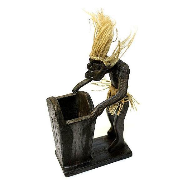木彫りの原人 ペン立て/ナプキンホルダー アジアン雑貨 バリ タイ エスニック 手作り |angkasa|04