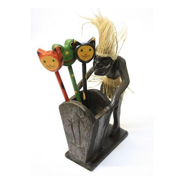 木彫りの原人 ペン立て/ナプキンホルダー アジアン雑貨 バリ タイ エスニック 手作り |angkasa|05