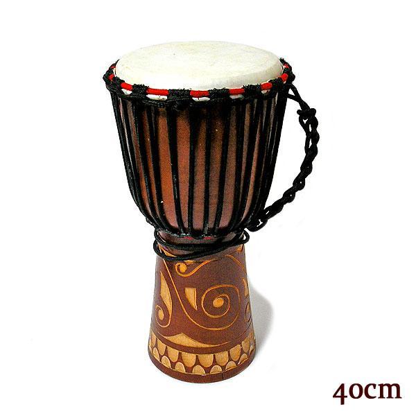ジャンベ [太鼓] H.40cm 木彫り ブラウン アジアの楽器 アジアン 雑貨 バリ 雑貨 タイ 雑貨 アジアン インテリア