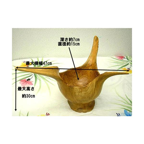 アジアン雑貨 バリ雑貨 自然木チークの花びん B フルーツボウル |angkasa|03