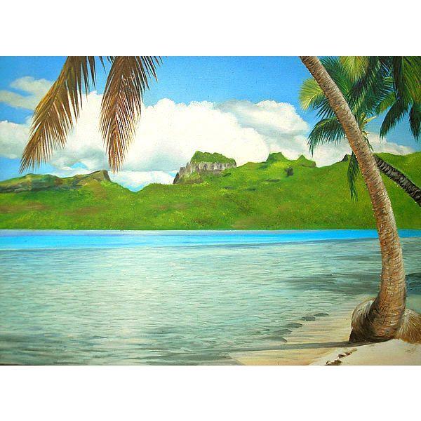 アジアン雑貨 バリ雑貨 バリアート絵画 特大 横 M.Santoの『椰子の木とSeaside』 E  [額横約99cmx縦79cm]|angkasa