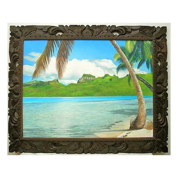 アジアン雑貨 バリ雑貨 バリアート絵画 特大 横 M.Santoの『椰子の木とSeaside』 E  [額横約99cmx縦79cm]|angkasa|02