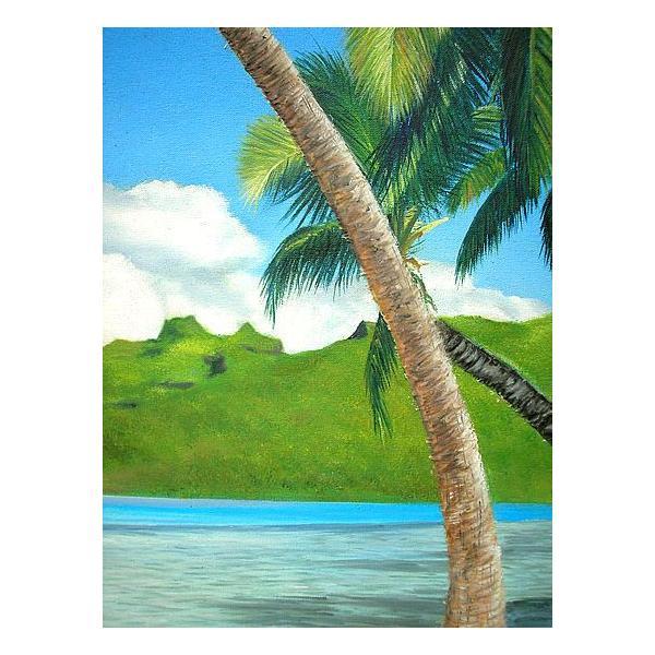 アジアン雑貨 バリ雑貨 バリアート絵画 特大 横 M.Santoの『椰子の木とSeaside』 E  [額横約99cmx縦79cm]|angkasa|03