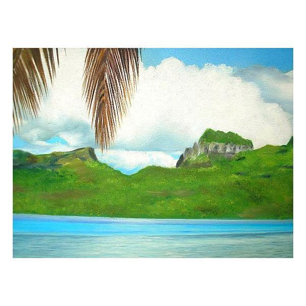 アジアン雑貨 バリ雑貨 バリアート絵画 特大 横 M.Santoの『椰子の木とSeaside』 E  [額横約99cmx縦79cm]|angkasa|04