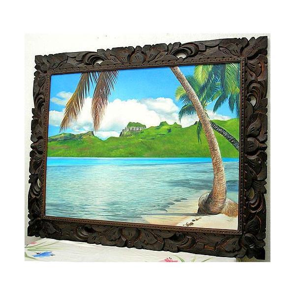 アジアン雑貨 バリ雑貨 バリアート絵画 特大 横 M.Santoの『椰子の木とSeaside』 E  [額横約99cmx縦79cm]|angkasa|06