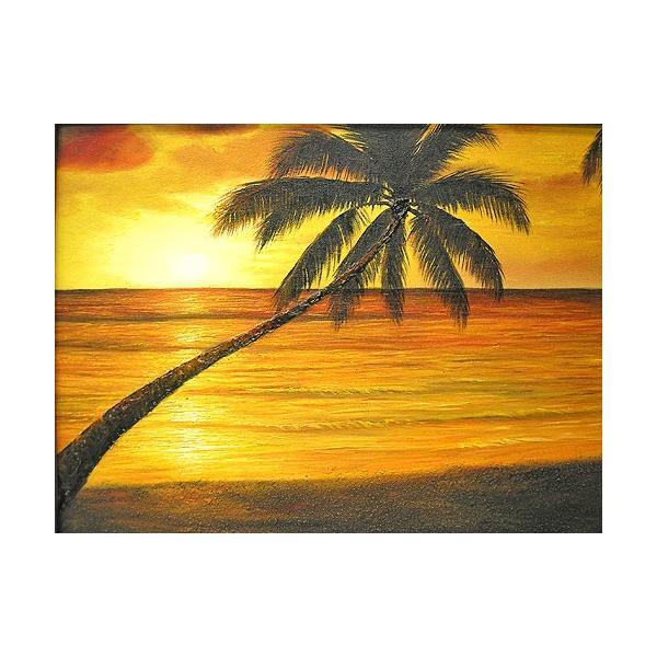 アジアン雑貨 バリ雑貨 バリアート絵画 M 横 M.Santo 『椰子の木とサンセットビーチ』 [額横約53cmx縦43cm]|angkasa
